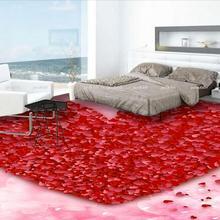 Custom photo 3d pvc flooring self adhesion wall sticker Romantic heart-shaped red