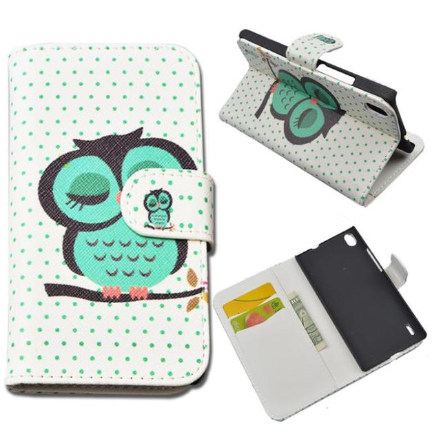 Flip PU Leather Case For  HUAWEI ASCEND P7 LTE P7-L10 Cover Wallet Phone Cases with Stand and Card Holder