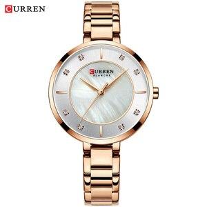 Image 4 - Curren montre bracelet étanche pour femmes, de marque de luxe, de marque supérieure, en or Rose, bracelet pour dames