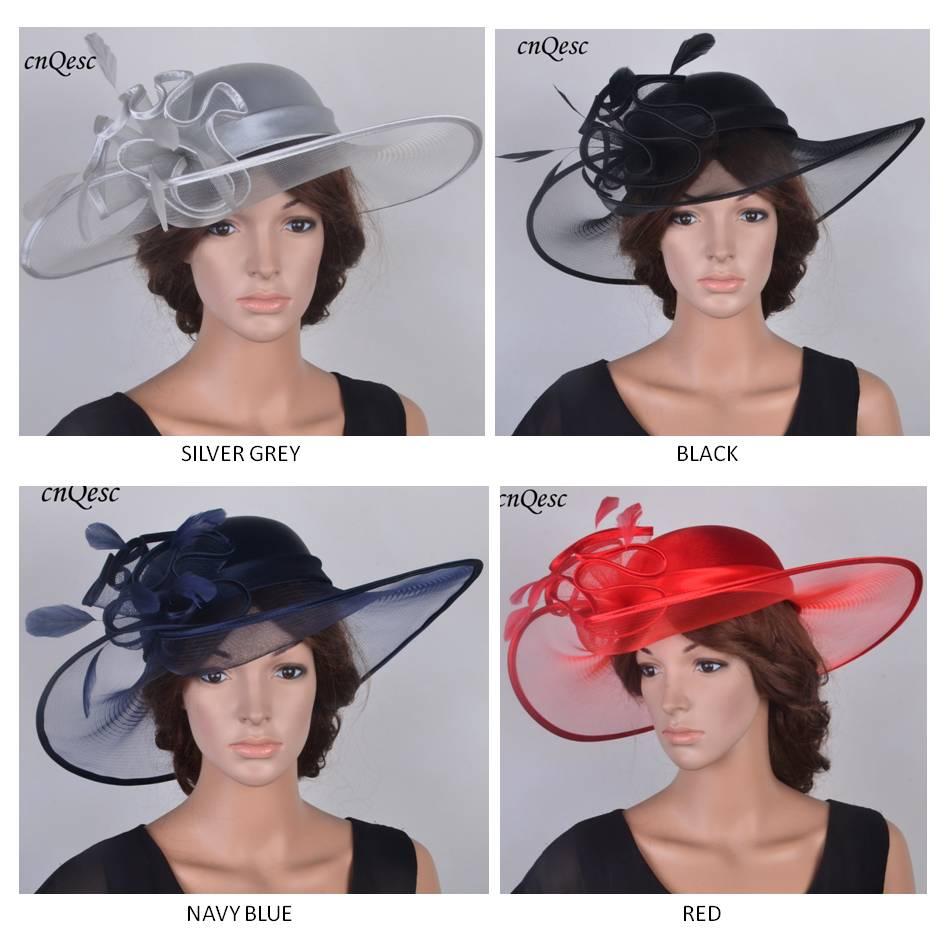 367c6eab 2019 NEW DESIGN Wide brim hatinator satin Kentucky Derby hat Crin fascinator  wedding hat with feathers