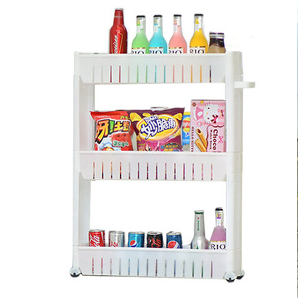 цены Wheels Crack Multipurpose Bathroom Storage Storage Rack Shelf Multi-layer Refrigerator Side Shelf with Removable folding