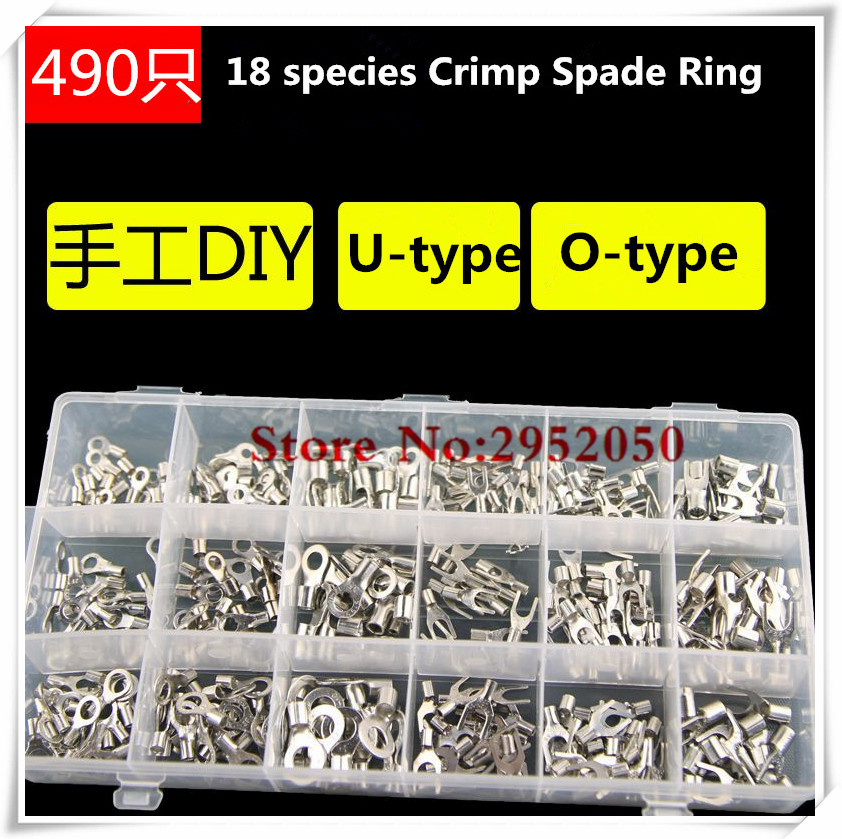 Free shipping 490pcs Assorted Full Insulated Fork U-type Set Terminals Connectors Assortment Kit Electrical Crimp Spade Ring  цены