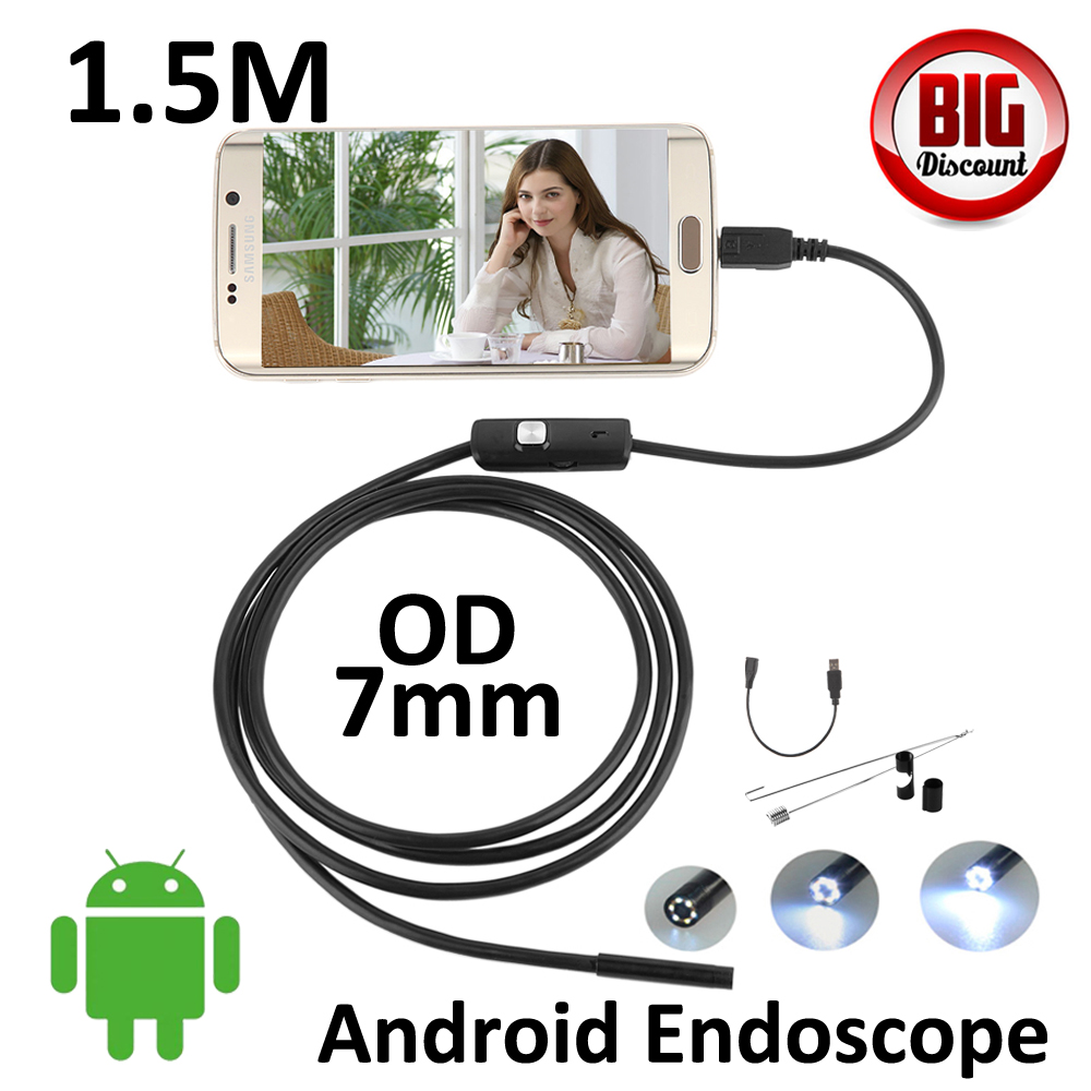 Micro USB Endoscope Camera 7mm lens 1.5M Flexible Snake Pipe Inspection Android Phone OTG USB Borescope P67 Waterproof  Camera 7mm lens mini usb android endoscope camera waterproof snake tube 2m inspection micro usb borescope android phone endoskop camera
