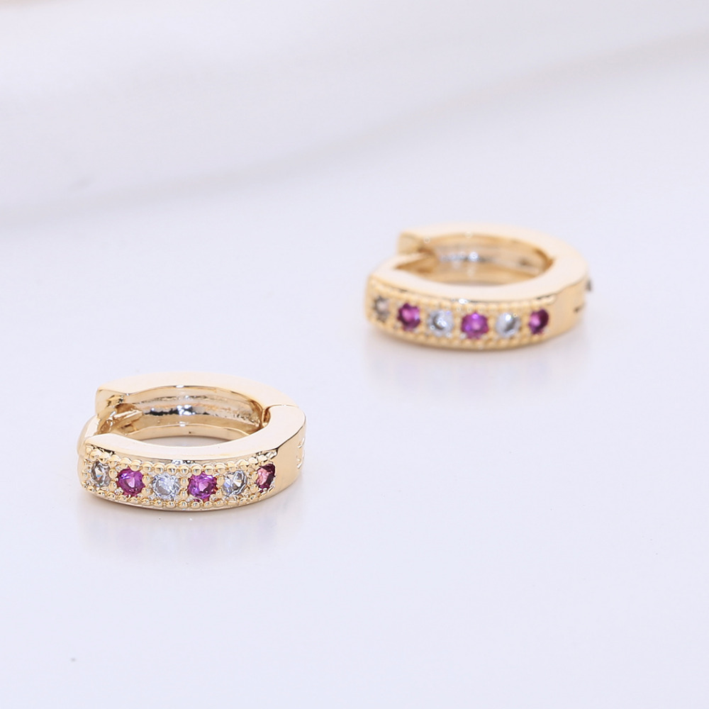 Kinitial New Hoop Earring Charm Colorful Classic Baby CC Earring Cubic Zirconia Earring For Baby Teen Girls Jewelry A1174 5