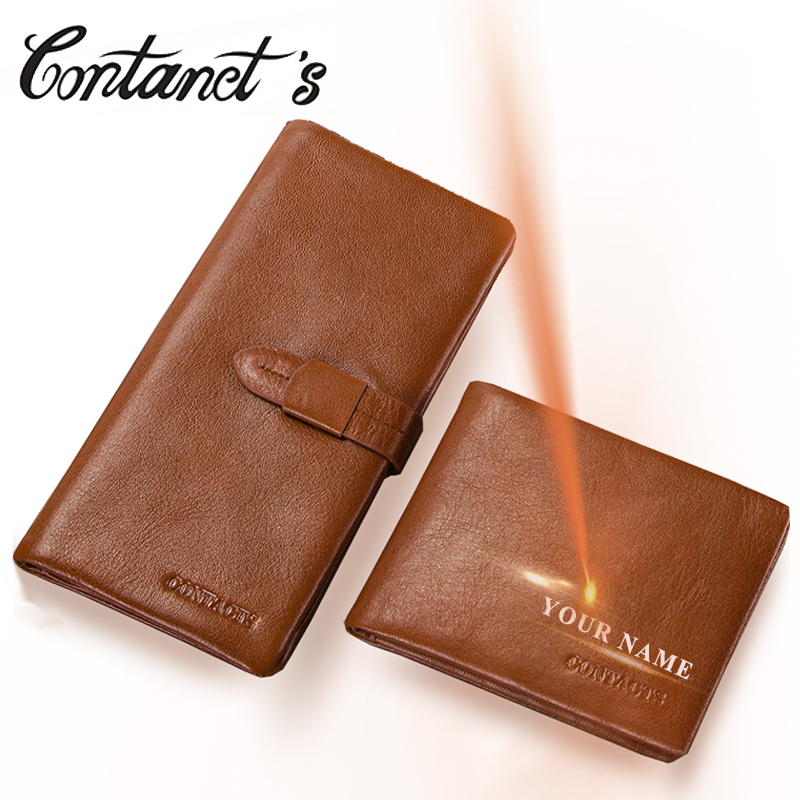Contact's Genuine Leather Men Wallet Male Clutch Bag Zipper Coin Purse Casual Long Walet With Credit Card Holders High Quality new oil wax leather men s wallet long retro business cowhide wallet zipper hand bag 2016 high quality purse clutch bag
