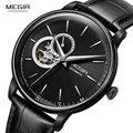 MEGIR Мужские механические часы с кожаным ремешком  модные повседневные Бизнес наручные часы для мужчин  водонепроницаемые  5 бар ML62057