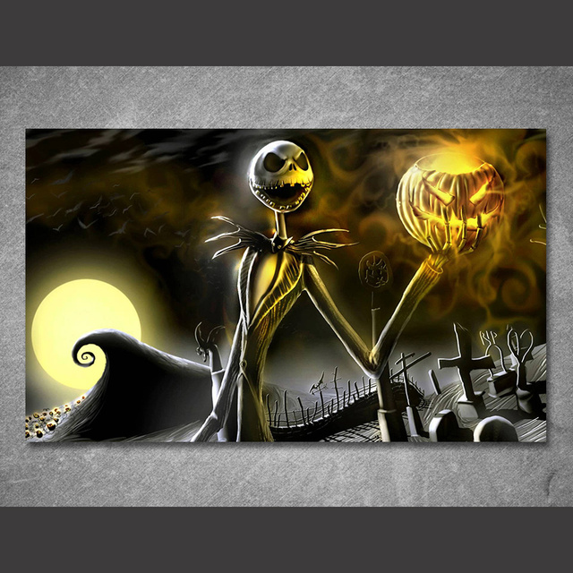 1 piece canvas art canvas painting nightmare before christmas halloween printed home decor art poster pictures - Nightmare Before Christmas Halloween Decorations For Sale