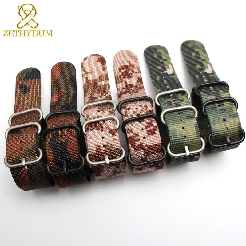 Nylon Watch Strap Perlon Watchband Waterproof Sport Watch Band 24mm Water Resistant Wristband 18 20 22mm Camouflage Color Belt
