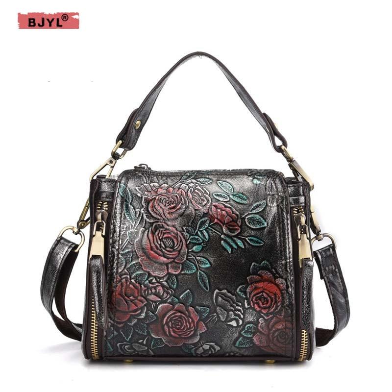 BJYL 2018 New cowhide leather Women handbag fashion female retro flowers embossed suede genuine leather ladies Messenger bag все цены