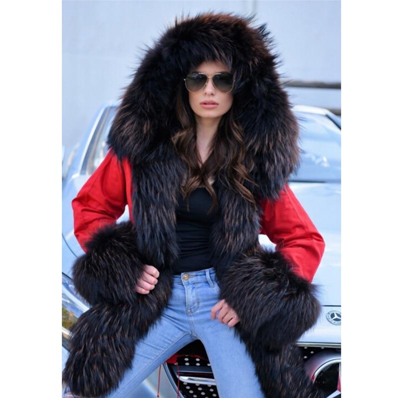 Long Casual Ckmorls Raton 2018 De Chaud Parka Manteau Avec Rouge Vêtements Col Hiver Laveur Red Réel Veste Femmes Dame Arrivée Fourrure Nouvelle 6d4wrZ6q