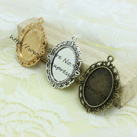 Sweet Bell Free Shipping  20pcs/lot  Three Colors Tone Oval Filigree  Frame Cameo Settings 30*40mm (Fit 18*25mm)  6C1046