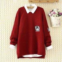 Plus size GATTO Ricamo donne di inverno pullover 2017 O-collo Lavorato A Maglia casuale delle signore oversize maglione di lana femminile 4XL rosso