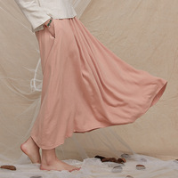 2019 New Women Solid Color Skirt Elegant One Size Lady Casual Skirt Chinese Vintage Cotton Linen Preppy Style Pleated Skirt