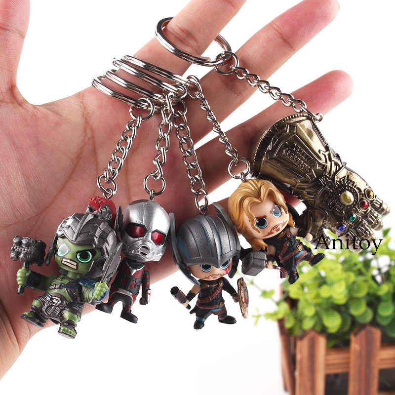 أعجوبة المنتقمون لعب ثانوس طبيب غريب شجرة رجل سبايدرمان الرجل الحديدي Hulkbuster النمل رجل ثور عمل الشكل محفظة المفاتيح