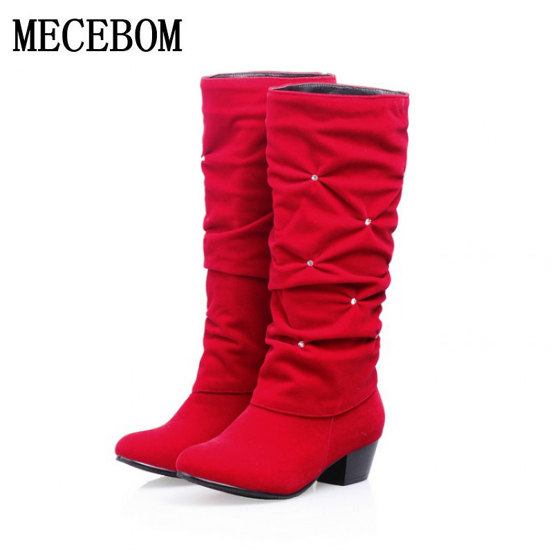 Plus Size 34-43 Fashion New Autumn Mid-Calf Women Boots Black Red Blue Thick Heels Half Boots Winter Female Diamante Long WzmwW gaozze fashion women socks boots mid calf thick high heels boots women comfortable elastic knitted fabric female boots brand