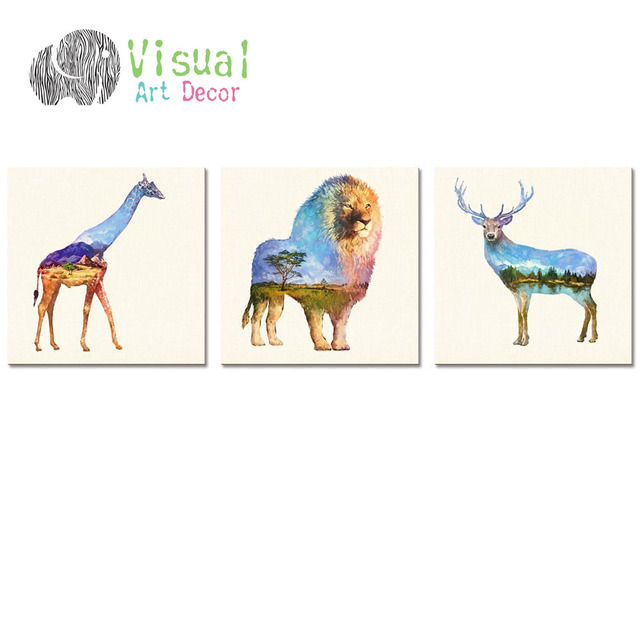 Modern Wall Art Decal Animal Double Exposure Painting Canvas Prints ...