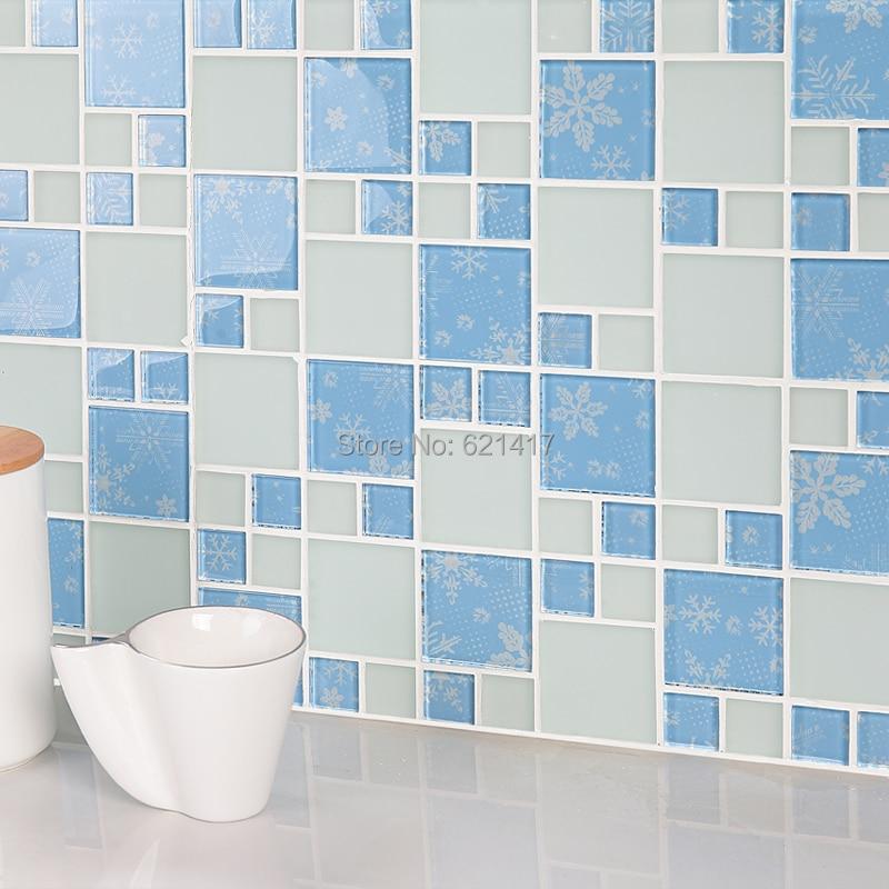 €200.45 8% de réduction|Carreaux de mosaïque bleu clair de la méditerranée  orientale HMGM1139B pour cuisine dosseret mosaïque salle de bain douche ...