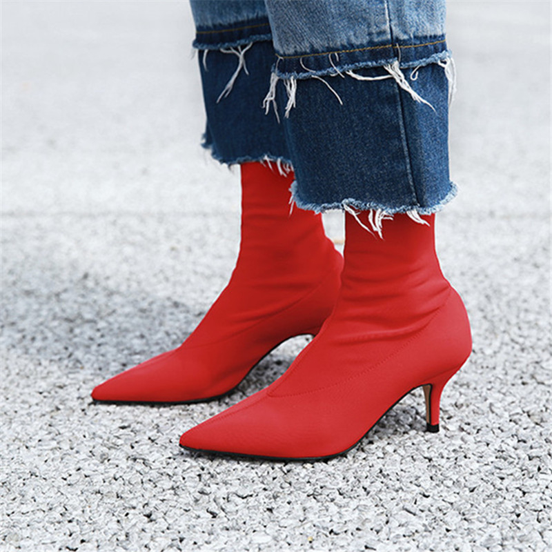 Hanbaidi Black Sock shoes Pointed Toe short Boots women High Heels ankle Boots for women Stiletto shoes Celebrity Botas Mujer