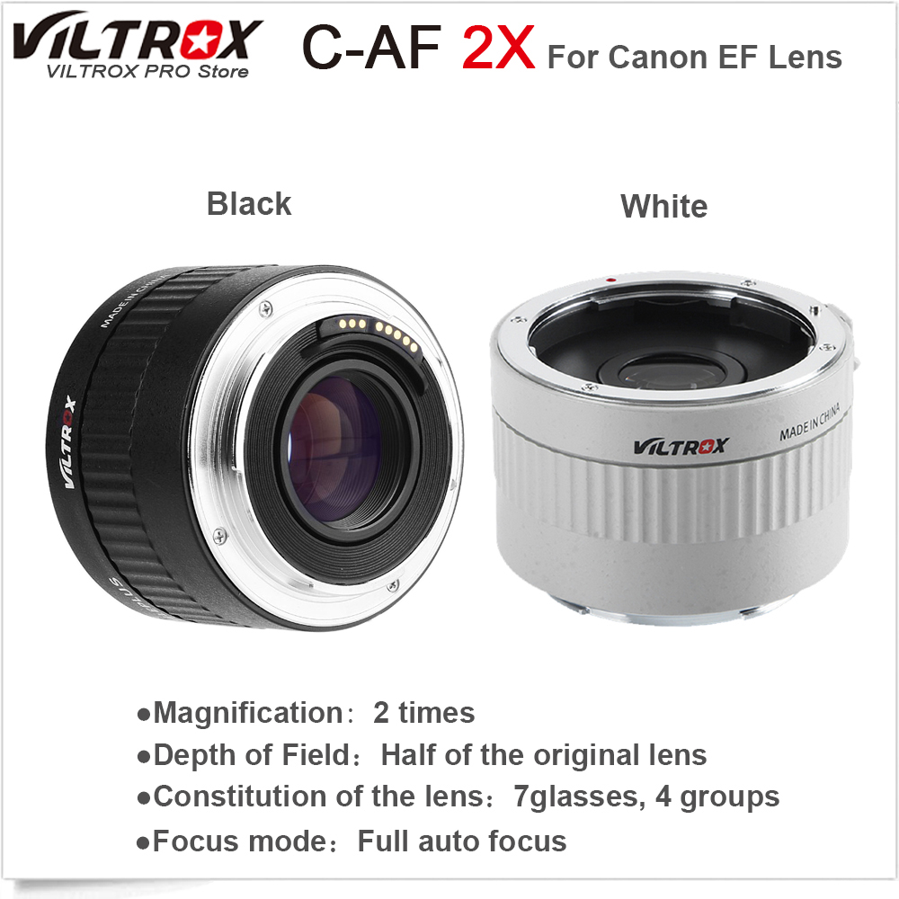VILTROX C-AF 2X AF Auto Focus Teleconverter Lens Extender Magnification Camera Lenses for Canon EF Mount Lens DSLR Camera
