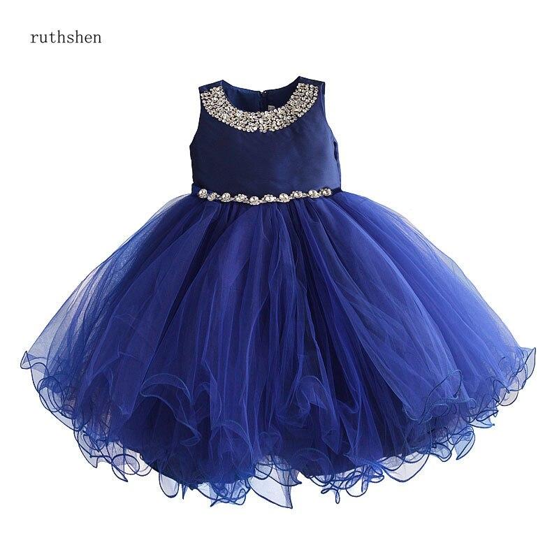 ruthshen Royal Blue Sleeveless   Flower     Girl     Dresses   A-line Tulle   Dress   For Little Kids Diamond Decoration Belt Vestido De Daminha