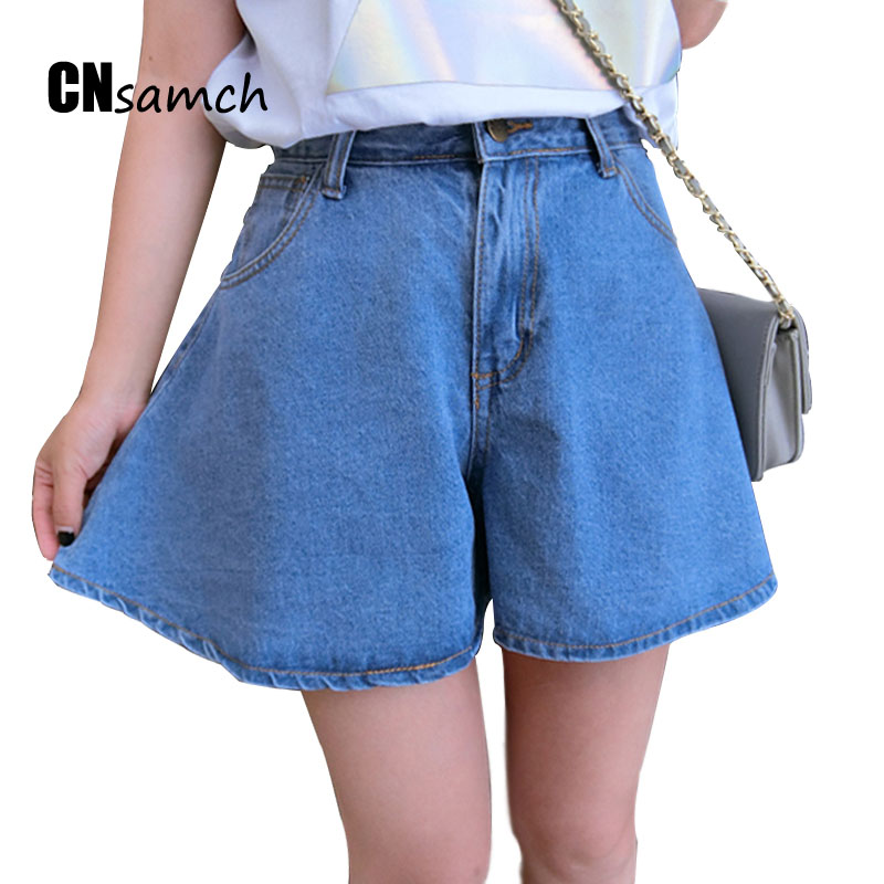 2017 Spring and Summer New Loose Jeans with High Waist Denim Shorts Pants Female Students Korean Plus Size Jeans Shorts