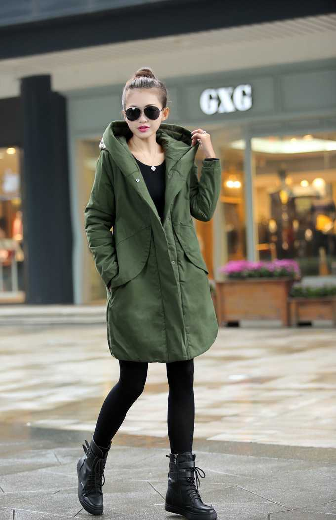 New Arrival Fashion Autumn Winter Cotton-Padded Jackets Hooded Collar Single-Breasted Loose Thicken Army Warm Women Coat H4535 lovely autumn winter lover cotton padded women