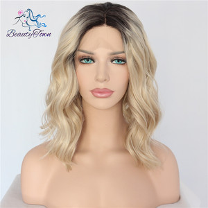 Image 2 - BeautyTown Short Ombre Blonde Heat Resistant Hand Tied Blogger Daily Makeup Synthetic Lace Front Wedding Halloween Party Wig