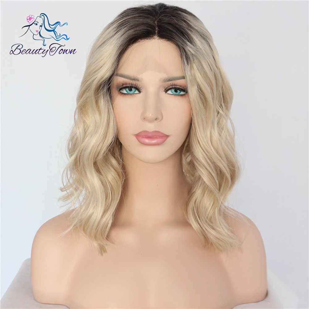 BeautyTown krótki Ombre blond żaroodporne ręcznie wiązanej Blogger codzienny makijaż syntetyczna koronka przodu wesele impreza z okazji halloween peruka