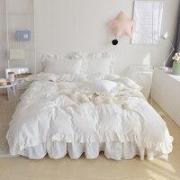 4 Colors 100 Cotton White Korean Bedding Set King Queen Twin Size Women Girls Bed Skirt