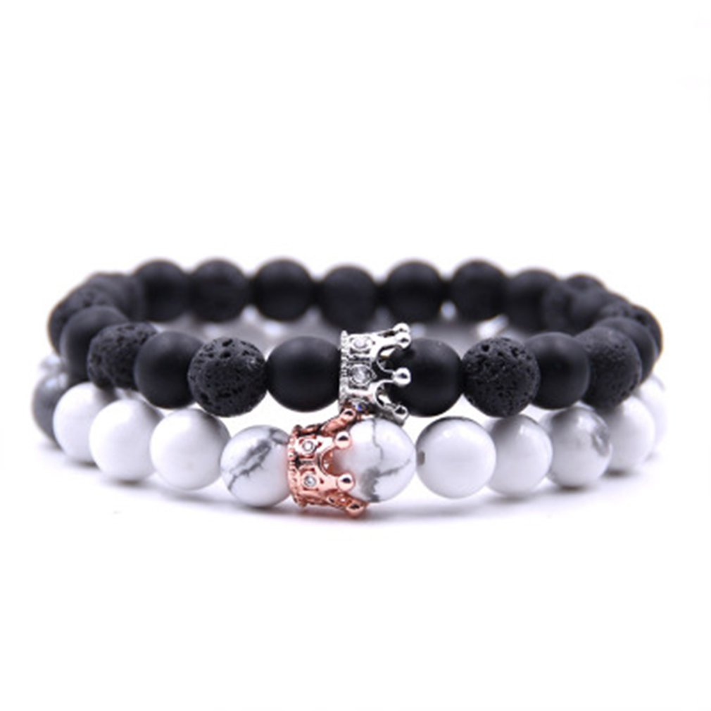 Fashion Couple Bracelet Adjustable Volcanic Stone Marble Scrub Beads Crown Bangles For Women Men Jewelry with Black Box