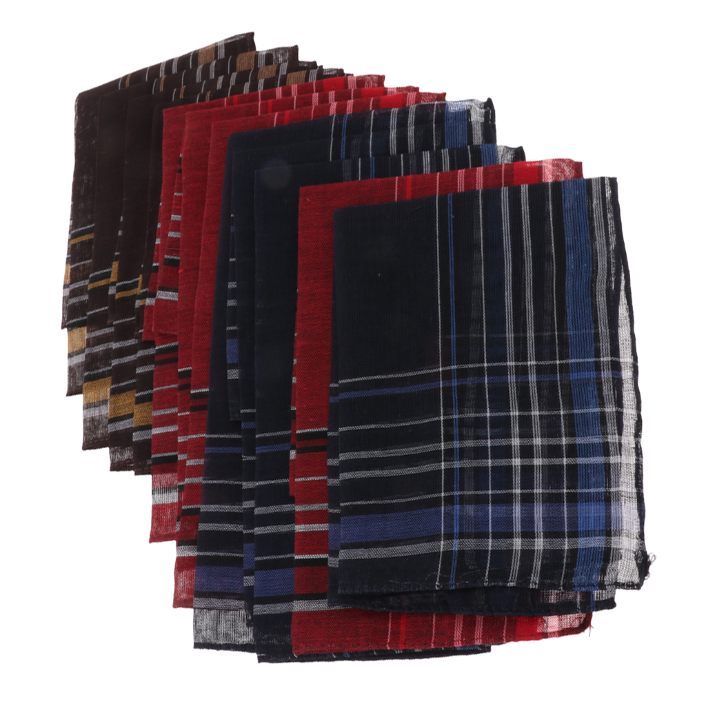 12 Packs Mens Fashion Plaid Cotton Handkerchiefs Decorative Suits Hanky