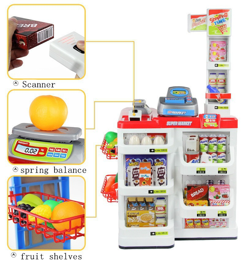 34pcs/set Play house toy supermarket red cash register cart shelf set fun toy pretend play imitate cashier salesclerk kids gift фотобарабан canon c exv21bk для irc2880 3380 чёрный 26000 страниц