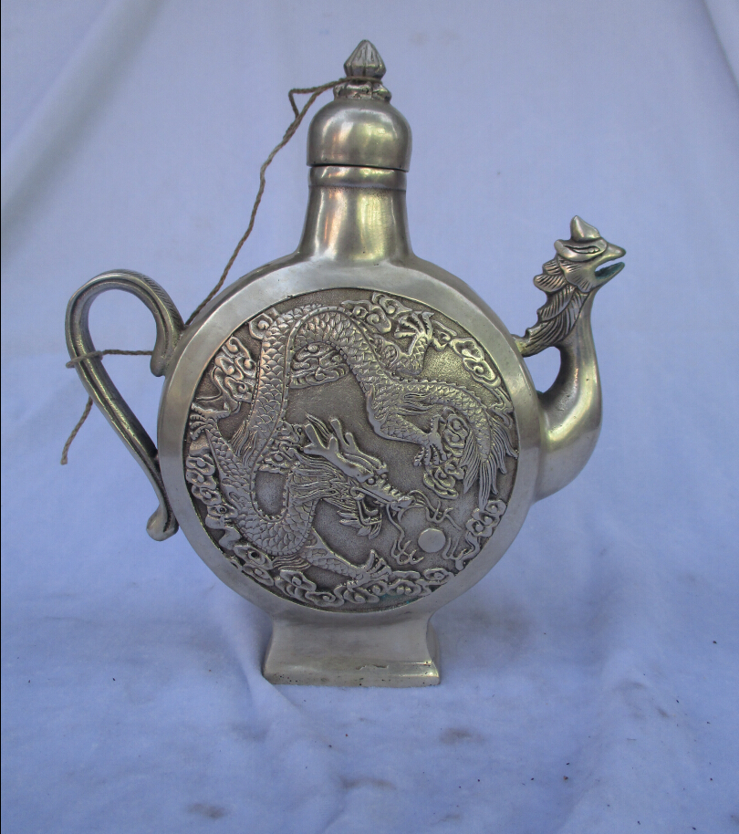 Collectible Decorated  Old Handwork Tibet Silver Carved Dragon and Phoenix Handle Teapot/Flagon Free shipping 00008Collectible Decorated  Old Handwork Tibet Silver Carved Dragon and Phoenix Handle Teapot/Flagon Free shipping 00008