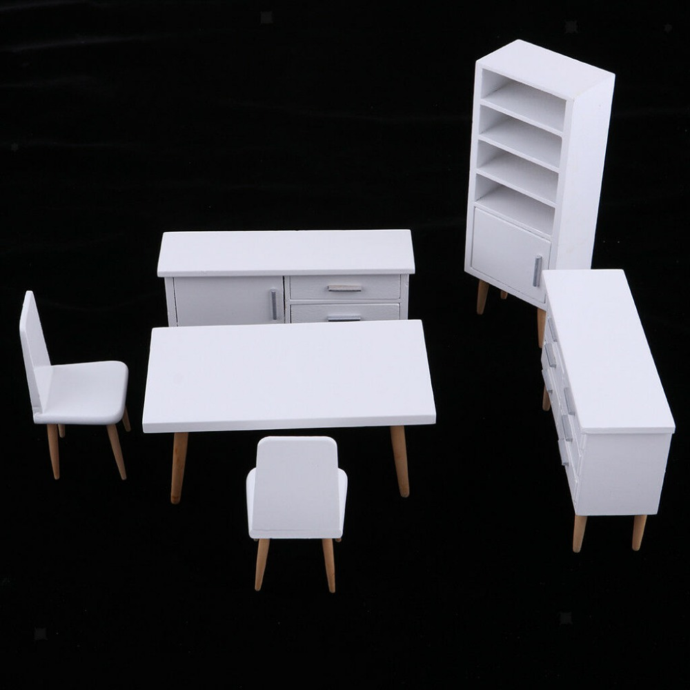 Modern Dressing Table /& Stool Miniature Set 1:12 Dollhouse Furniture White