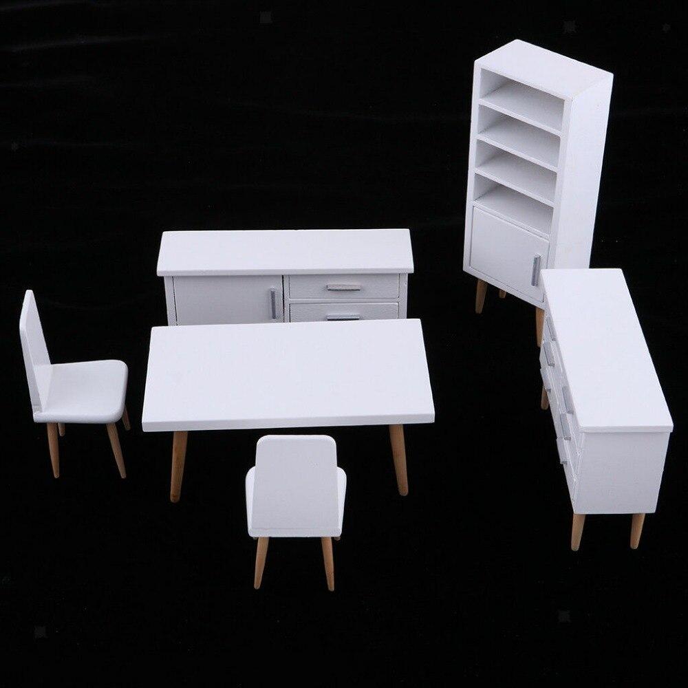 1 12 casa de bonecas em miniatura sala jantar mobiliario conjunto branco moderno conciso estilo gabinete