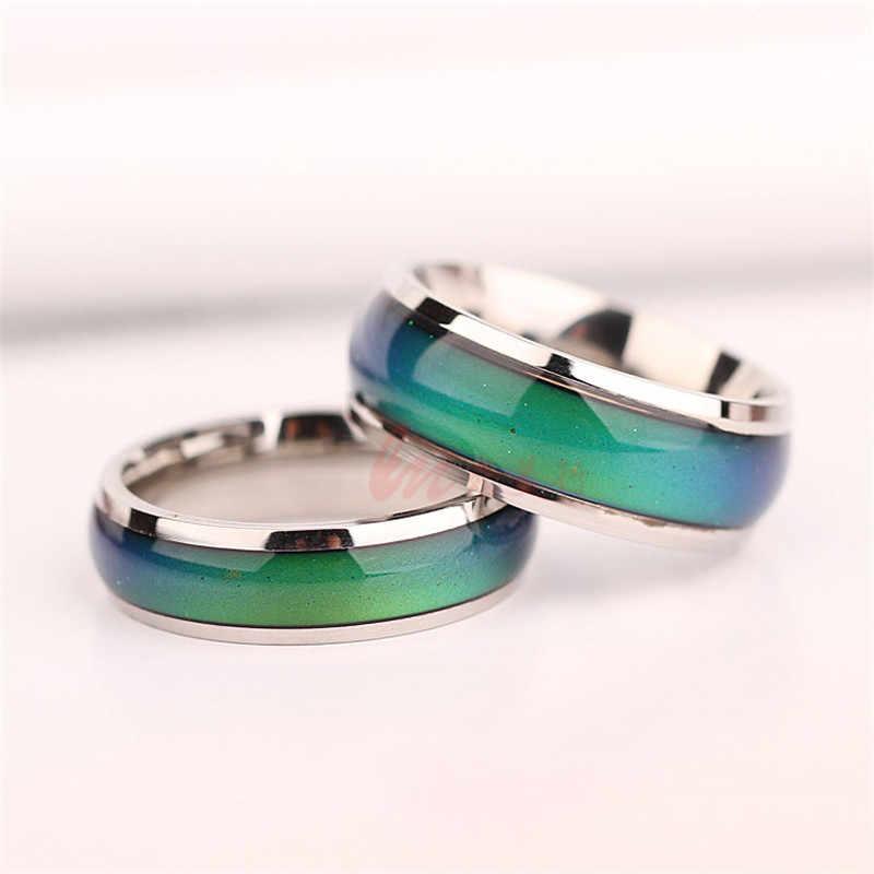 Homens de aço inoxidável anel de Mudança de Cor do Anel de Humor Emoção Mutável Controle De Temperatura do Anel Para as mulheres