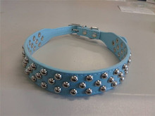 Cute Mushroom Nail Dog Collar PU Leather Pet Neck Strap