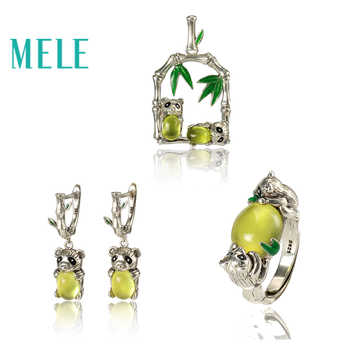 Yellow prehnite silver 925 Jewelry Sets,Animal Panda shape,fashion and trendy natural gemstone jewelry - DISCOUNT ITEM  0% OFF All Category