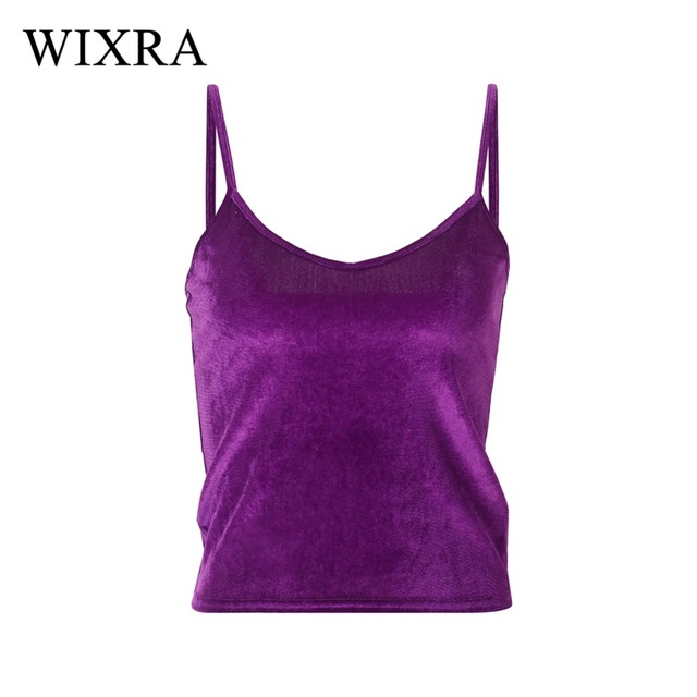 d87e15fdbf9962 Wixra Basic Camis Top 2018 Summer New Women Fashion Velvet Camisole Sexy  Black Backless Spaghetti Strap Crop Top Casual Tops