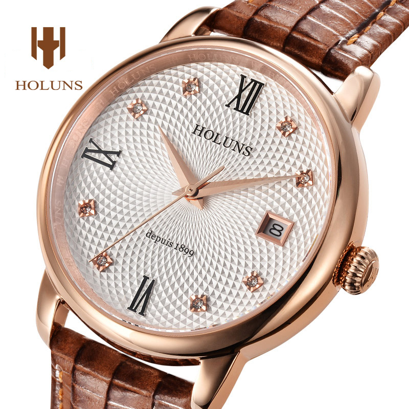 Luxury HOLUNS watch men sapphire glass leather strap waterproof  date stainless steel Quartz wristwatch relogio masculine