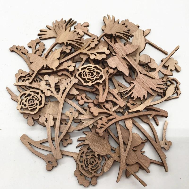 DIY Crafting Wood laser cut tags Fleur de laser cut out,wooden shape for autumn decorations