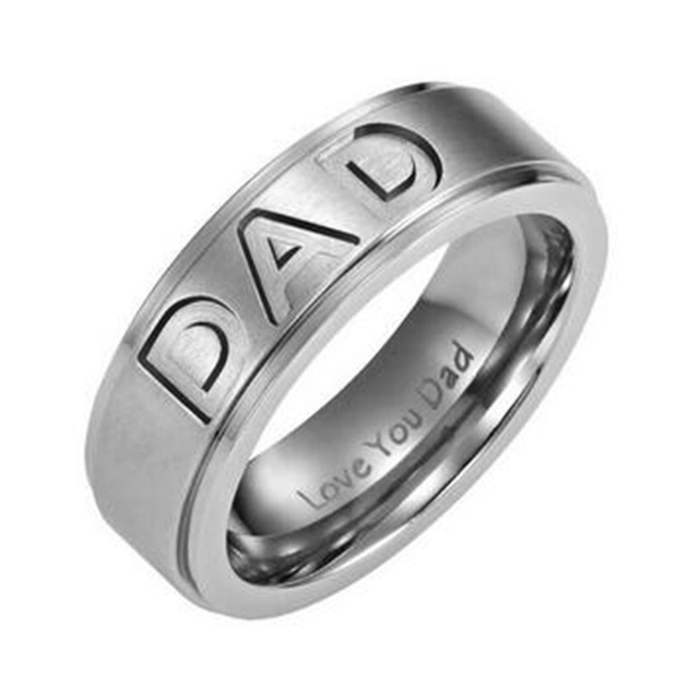 Gaxybb New Arrive Stainless Steel Dad Ring Engraved Love You Dad Men's Ring Jewe