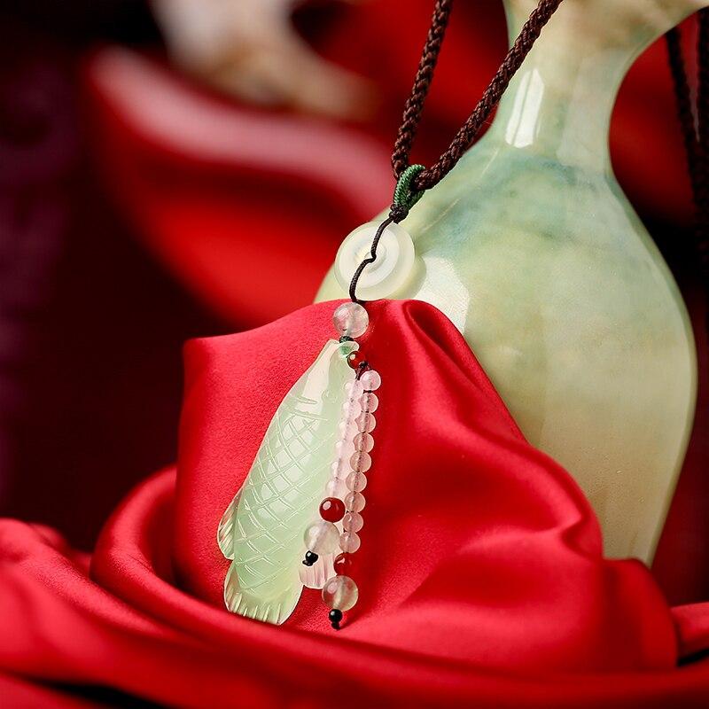 Yu Yixuan jade pendant sweater chain long necklace national wind ornaments Xiuyu pendant accessories necklace female pendant long yi taishan jade rat necklace body wangcai anti villain 8000386