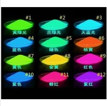 Polvo de brillo luminoso super brillante fluorescente polvo de pigmento en polvo Noctilucentes luminoso pintura DIY materiales 100 gr/lote FPP