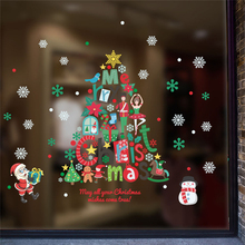 merry christmas tree santa claus snowflake wall stickers bedroom window home decor new year wall decals pvc mural art diy poster цена
