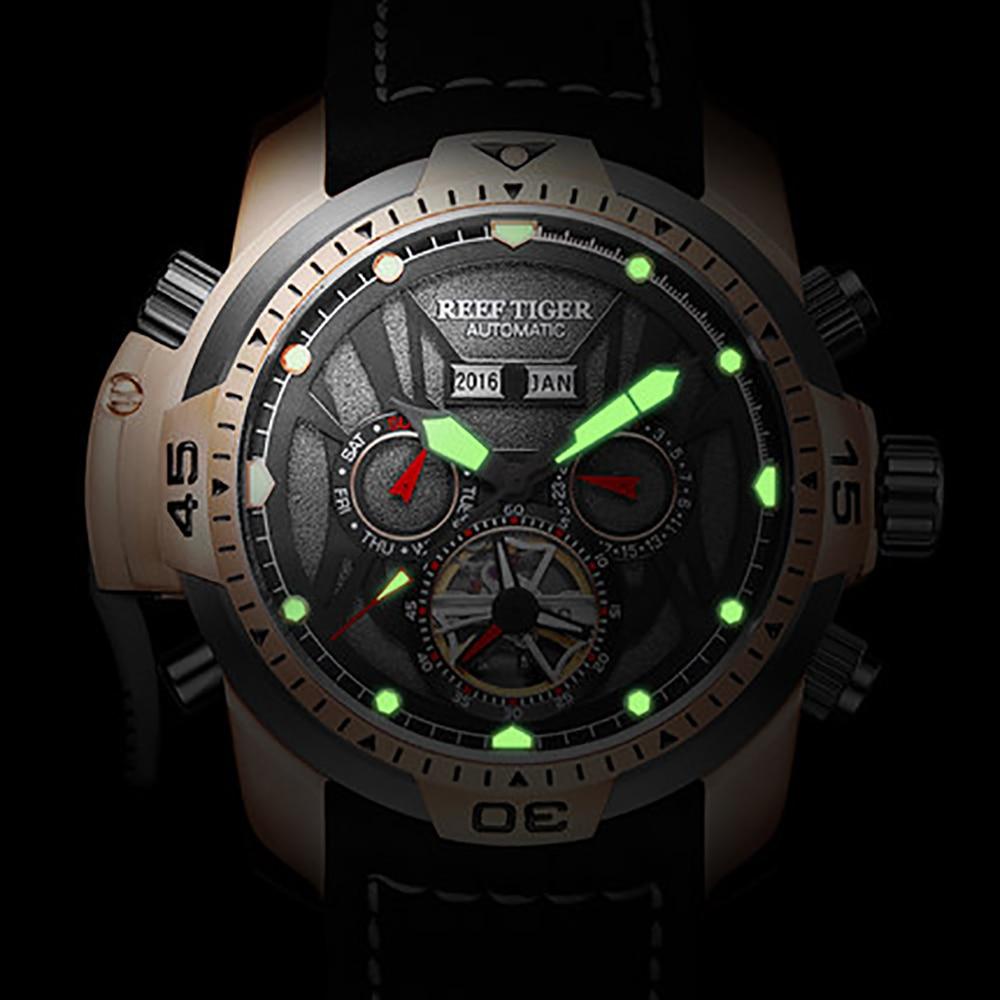 5ea7a7b8243 Recife Tigre RT Gent Esporte Relógios com Dial Multi funcional Complicado  Bezerro Brown Strap Relógio Automático RGA3532 em Relógios desportivos de  Relógios ...