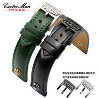 Quality Genuine Leather Watch Band 20mm 21mm Wristwatch Black Silver Buckle The First Layer Leather Pin