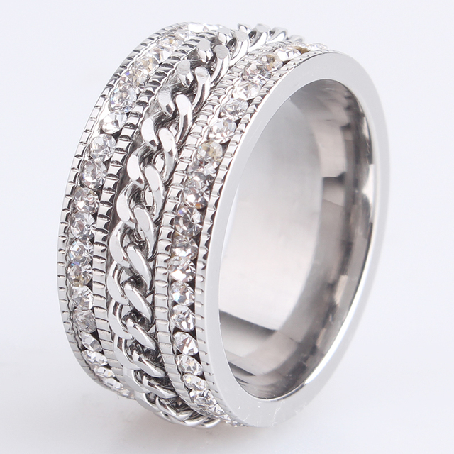 free shipping 10mm chain double row crystal 316L Stainless Steel wedding rings f