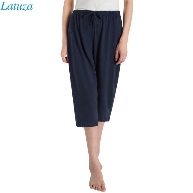 49aba694e69 Knitted Cotton Pajama Capri Pants Women Loose Summer Elastic Waist Plus  Size Lounge Home Pants For Sleep Capris Pyjama Bottoms
