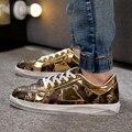 Distressde 2017New Primavera Al Aire Libre Zapatos Ocasionales de LA PU de Cuero Cráneo Impreso Zapatos Planos Cordón-up Hombre Skate Zapatos Zapatillas Hombre